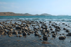Sea stones. The panorama view of sea the stones Royalty Free Stock Image