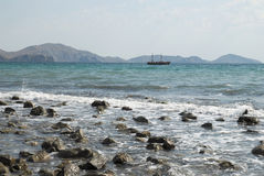 Sea stones. The panorama view of sea the stones Royalty Free Stock Photography