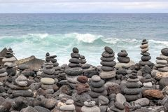 Sea and stones. The sea beguin with stones stock images