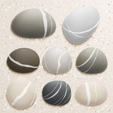 Sea stones collection on sand background. Vector illustration Royalty Free Stock Photo