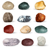 Sea stones collection  on white background. Vector illustration. Stock Photo