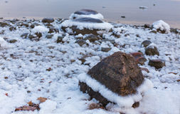 Sea stones in the snow Royalty Free Stock Image