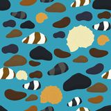 Sea stones of various shapes and color seamless pattern . Relax spa stone mineral texture abstract seamless pattern Royalty Free Stock Images