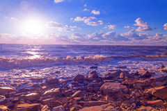 Sea stones waves landscape Stock Photography
