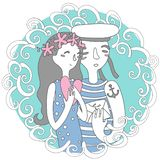 Sea stories. Portrait for happiness vector illustration