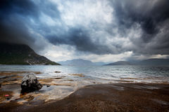 Sea Storm. A brewing storm on the ocean in northern Norway Stock Photo
