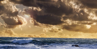 Sea at storm. At sunset Royalty Free Stock Photo