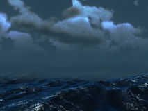 Sea Storm. An illustration of storm over sea in dark colours Royalty Free Stock Image