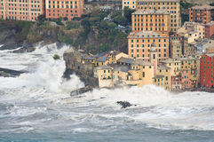 Sea storm in Camogli, Italy Stock Photos