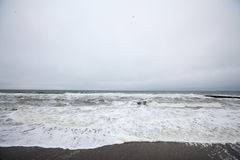 Sea storm and cloudy sky Royalty Free Stock Image