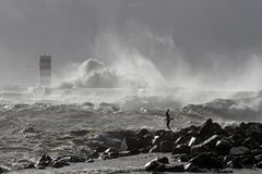 Sea storm at the river mouth Stock Photos
