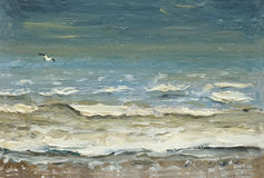 Sea after the storm foaming waves and seagulls over the water. painting oil on canvas royalty free illustration