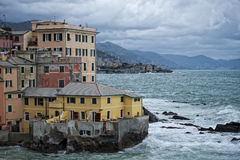 Sea Storm on Genova pictoresque boccadasse village Stock Photos