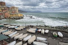 Sea Storm on Genova pictoresque boccadasse village Stock Images