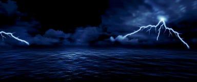 Sea storm. Lightning ocean wallpaper background stock illustration