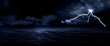 Sea storm. Lightning ocean wallpaper background vector illustration