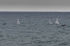 Sea Storm while regatta small ship are rolling Royalty Free Stock Images