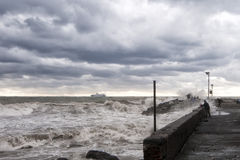 Sea Storm on the shore Royalty Free Stock Image