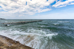 Sea storm and splashes of surf Stock Images
