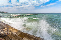 Sea storm and splashes of surf Stock Image
