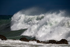 Sea Storm tempest on the coast stock photography