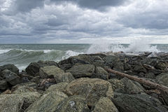 Sea Storm tempest on the rocks Stock Image