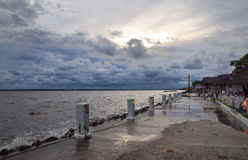 Sea before the storm. View sea before a heavy storm at bangpoo Royalty Free Stock Photography