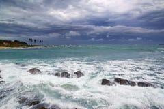 Sea stormy landscape over rocky coastline Royalty Free Stock Image