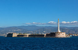 Sea strait Messina Calabria, Sicily, Italy. The strait between Sicily and the Italian mainland, between Messina and Calabria taken from the harbour of Messina stock photo
