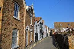 Sea street with traditional houses in Whitstable, UK. Sea street with traditional houses in Whitstable Royalty Free Stock Photography