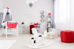Sea style in nursery room royalty free stock photography