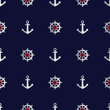 Sea style seamless pattern with anchors and helms Stock Image