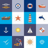 Sea subject. Port. Flat icon. Vector illustration Royalty Free Stock Photography