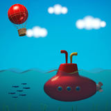 Sea with submarine and sky with balloon in cartoon style. 3D rendering vector illustration