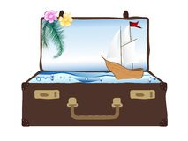 Sea in suitcase Royalty Free Stock Photos