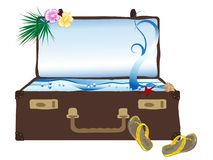 Sea in suitcase Royalty Free Stock Photo