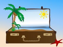 Sea in suitcase Stock Photography
