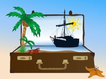 Sea in suitcase Stock Images