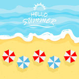 Sea with summer beach and umbrellas. Ocean or sea wave on a sandy beach with umbrellas and lettering Summer time, illustration Stock Image