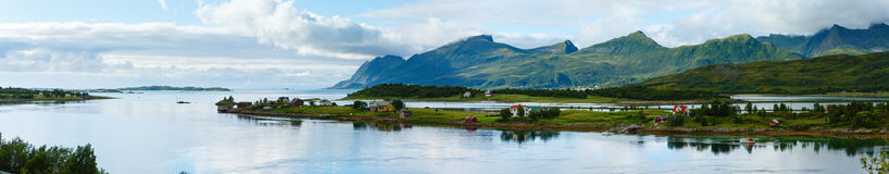 Sea summer coast panorama (Norway, Lofoten). Royalty Free Stock Image