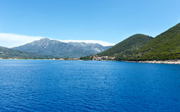 Sea summer coast view from ferry (Greece) Royalty Free Stock Images