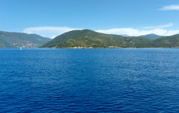 Sea summer coastline view from ferry (Greece) Royalty Free Stock Images