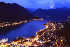 Sea summer night city Royalty Free Stock Images