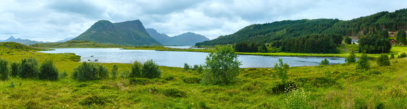 Sea summer panorama (Norway, Lofoten). Stock Photo