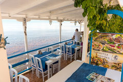Sea summer restaurant on the city embankment of the old Nessebar in Bulgaria Stock Photos