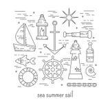 Sea summer sail vector set Royalty Free Stock Images