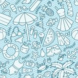 Sea and summer. Seamless pattern in doodle and cartoon style. Blue waves. stock illustration