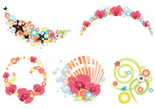 Sea and summer theme illustrations. Design elements on tropical and summer theme Stock Images