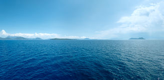 Sea summer view from ferry (Greece). Panorama. Stock Photo