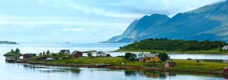 Sea summer view (Norway, Lofoten). Panorama. Stock Photo